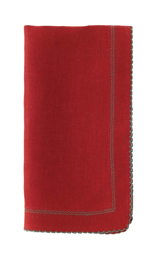 """$176.00 Red/Evergreen 22"""" Napkin - Pack of 6"""
