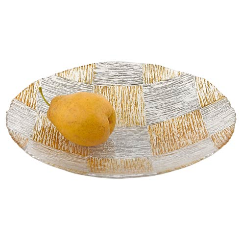 """$39.00 Silver and Gold Cubes Low Bowl 12"""""""