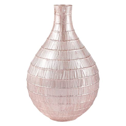 "$69.00 Blush Bamboo Decorated Glass Vase 14"""