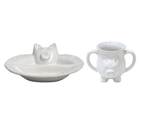 $49.50 Plate/ Mug Set,Pig White