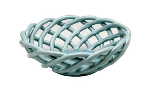 $53.00 Medium Round Basket, Light Blue