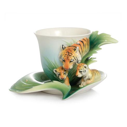 $180.00 Cup, Saucer Set, Tiger/Baby