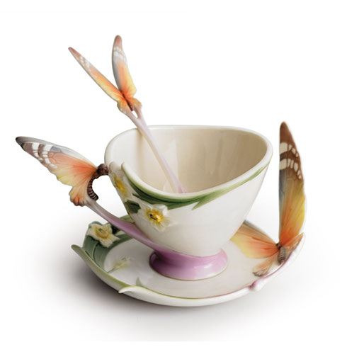 $143.00 Cup, Saucer, Spoon Set, butterfly