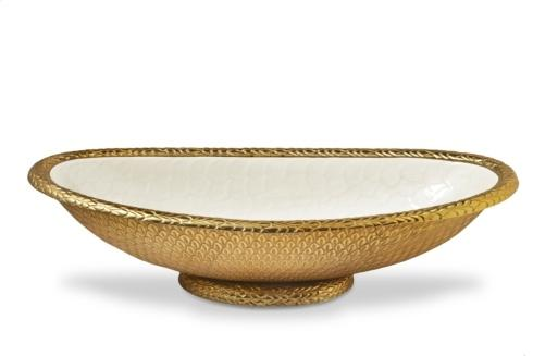 "$395.00 Gold Florentine 24"" Oval Bowl Gold Snow"