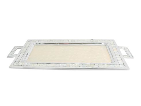 "$250.00 25"" Rectangular Tray w/Handles Snow"