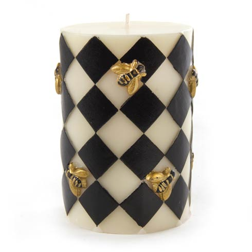 $38.00 Bee Pillar Candle - Black