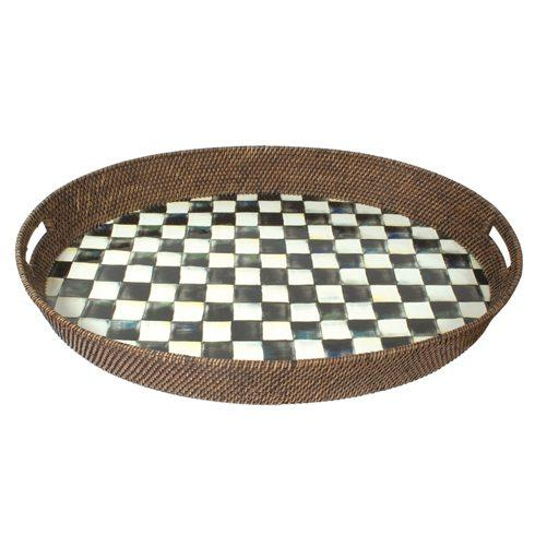 $150.00 Rattan & Enamel Party Tray