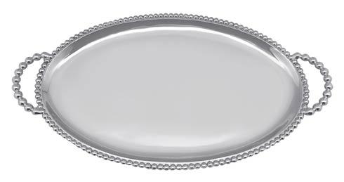 $98.00 Beaded Oval Handled Tray