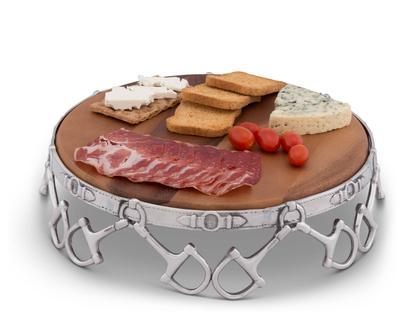"""$135.00 Wood Cheese Pedestal 13"""" - Equestrian"""