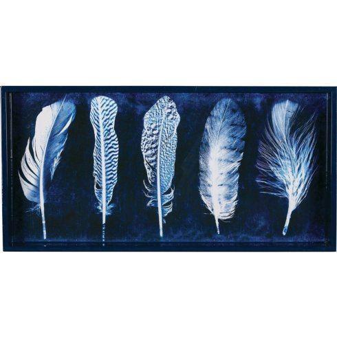 "$74.00 Indigo Feathers 10""x20"" Art Tray RFP-176"