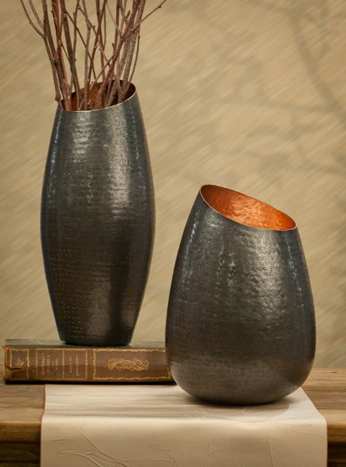"$68.00 12.5"" Bronze Copper Vase DES-180"