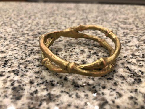 $60.00 Antique Bronze Bamboo Napkin Rings set/4 TAR-093