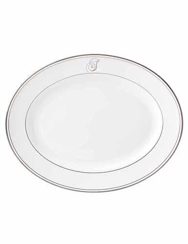 "$170.00 Federal Platinum 13"" Oval Platter With Script ""S"" Monogram"