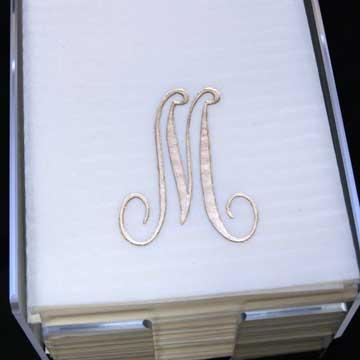 """$11.25 Gold Guest Towel """"M"""""""