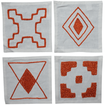 $44.00 Hand Embroidered Coasters s/4 Orange