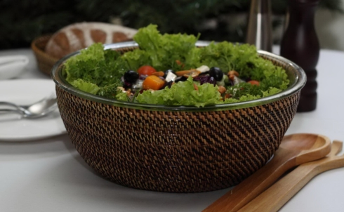 $92.00 Large Salad Bowl W/Woven Holder