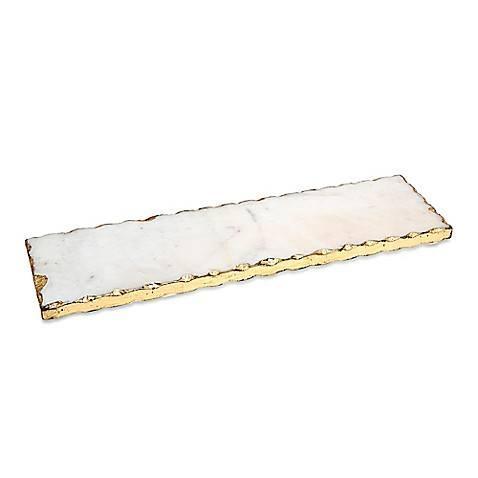 $43.00 Stone Rect Tray Gold Edge
