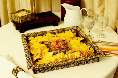 $87.00 Calaisio square chip and dip tray w/ glass dish