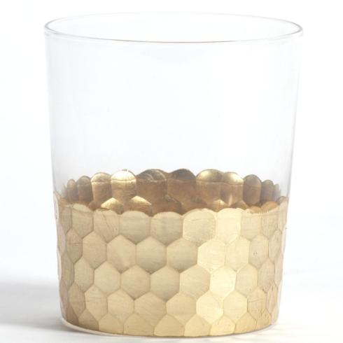 $17.00 Zodax Glass Tumbler Gold Leaf Bar312