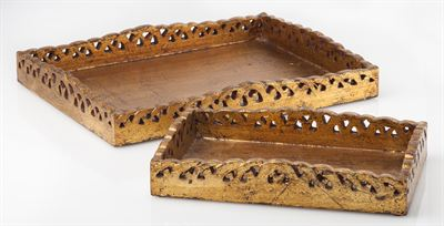 $33.00 Abigails 524918 small wooden w gold tray