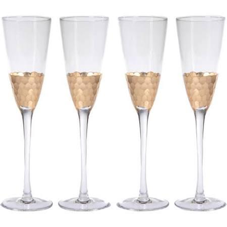 $21.00 Champagne Flute With Gold leaf 420