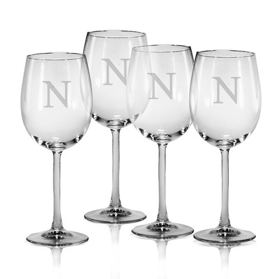 $55.00 Set of 4 All Purpose Wine Glasses with Monogram