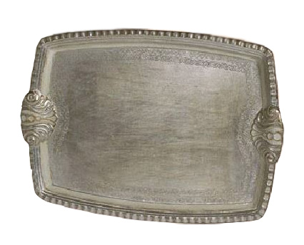 $120.00 Silver and Cream Handpainted Tray