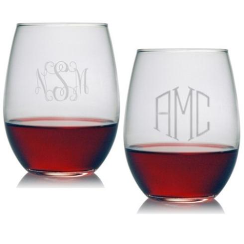 $55.00 Set of 4 Stemless Wine Glasses with Monogram