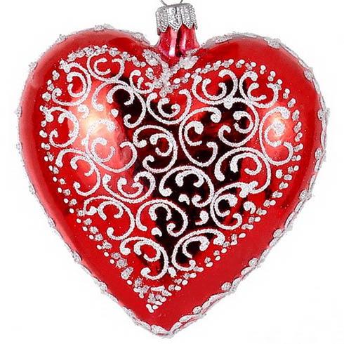 "$89.00 4 Pcs Glass Red Heart 4"""