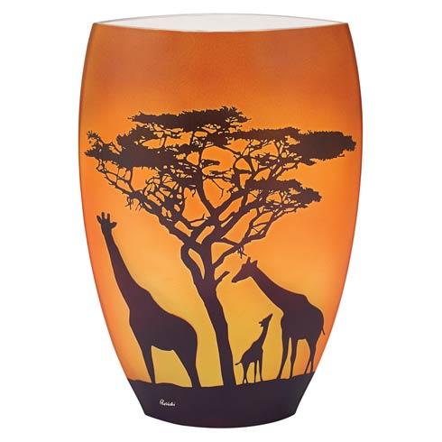 "$149.00 Limited Edition Savannah Giraffes European Handcrafted Blown Glass Vase 11"""