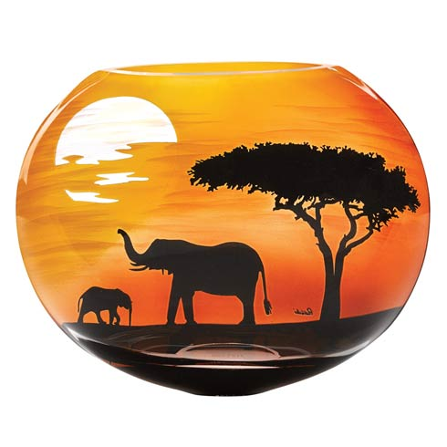"""$129.00 Limited Edition Elephant Savannah European Mouth Blown and Hand Decorated Vase 9"""""""