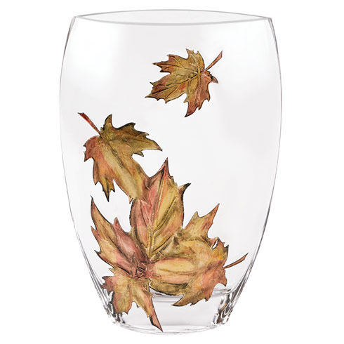 """$129.00 Limited  Edition Hand Decorated """" Leaves""""  Vase"""