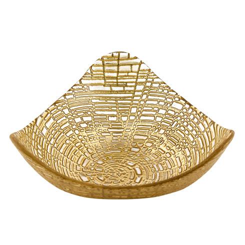 "$19.75 Triangular 6""  Hand Decorated Glass Bowl"