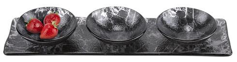 "$59.00 Hostess 4 pc Set in Black Glass Decor L18 x5"""