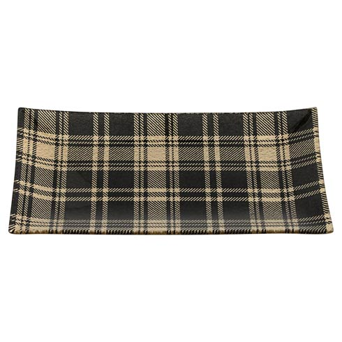 """$35.00 Champagne Plaid Rectangle Tray 12.5"""" X 6"""""""