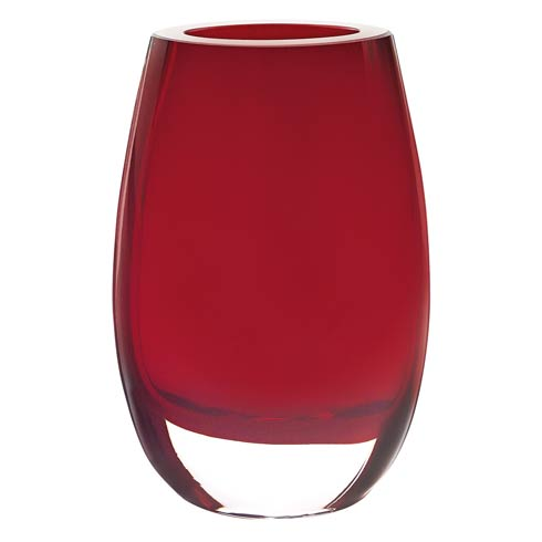 """$95.00 Crescendo Red  European Mouth Blown Oval Thick Walled Vase 7.5"""""""