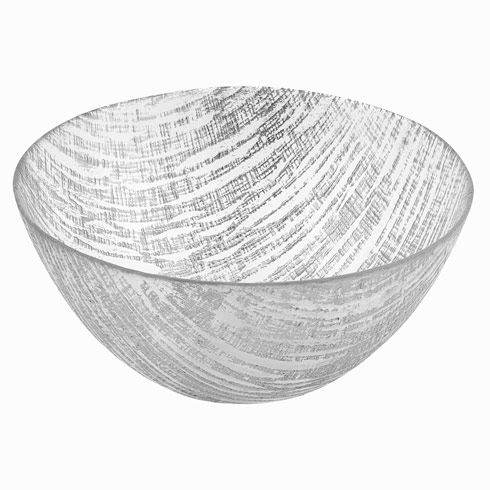 $35.00 Silver Lines Handcrafted Glass Bowl Large