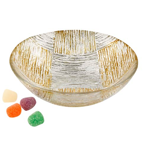 """$19.00 Silver and Gold Cubes Low Bowl 6"""""""