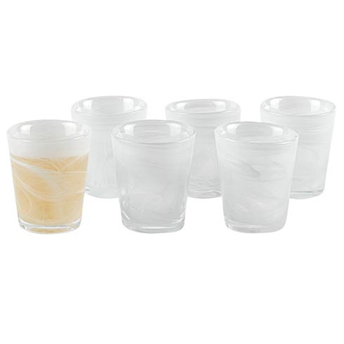 $29.00 White Alabaster Glass 2 oz. Shot Glasses - Set of 6