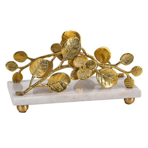 $58.00 Napkin holder with Marble Base and Gold Brass Petals Design