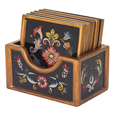 $69.00 Gemstone Black 7 Piece Coaster Set