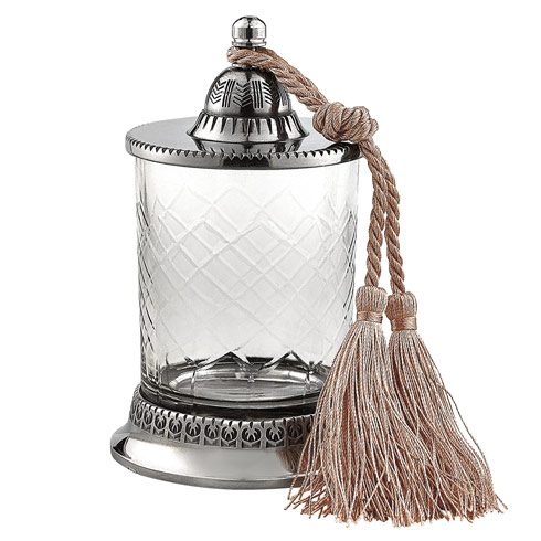 $24.00 Hand cut Jar With Tassel / No Candle