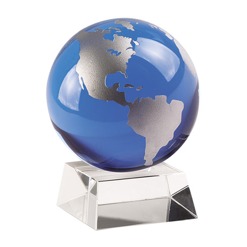 "$19.00 Blue & Silver 3"" Globe On  Crystal Base"