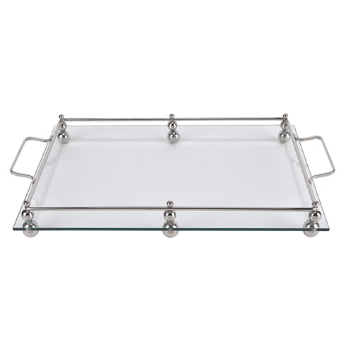 """$79.00 Serving Tray with Chrome Border 18x12"""""""