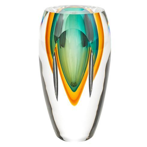 $98.00 Rimini Amber and Green Vase