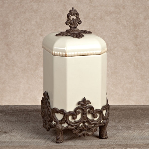 """$130.00 CANISTER w/ metal base-15""""h"""