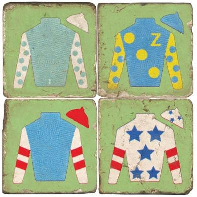 $54.00 JOCKEY JACKET MARBLE COASTERS W/ IRON STAND