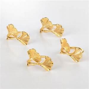 $25.00 GOLD GINKO LEAF NAPKIN RINGS SET/4