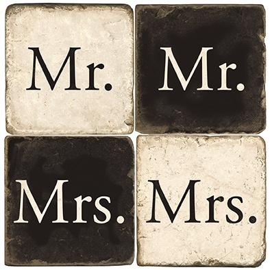$54.00 MR. & MRS MARBLE COASTERS W/ IRON STAND