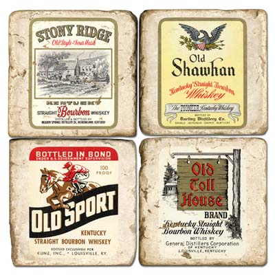 $54.00 WHISKEY LABEL COASTERS W/STAND SET/4